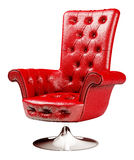 Red armchair with clipping path 3d. Red office chair isolated over white with clipping path 3d Stock Images