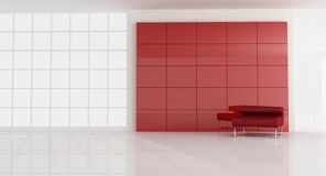 Red armchair in empty modern room royalty free stock photography
