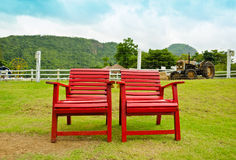 Red armchair in farmland Royalty Free Stock Photo