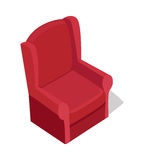 Red Armchair Illustration in Isometric Projection Royalty Free Stock Image