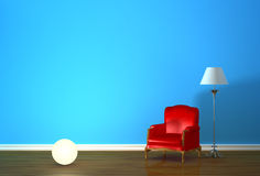 Red armchair with lighting sphere and lamp Stock Images