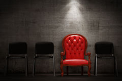 The red armchair. Modern interior with a red armchair Royalty Free Stock Photo
