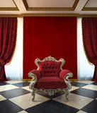 Red armchair room in classic style Royalty Free Stock Photo
