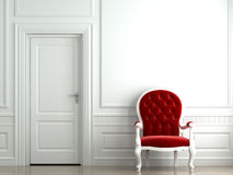 Red armchair on white classic wall. 3D scene of a red velvet armchair on a white classic wall