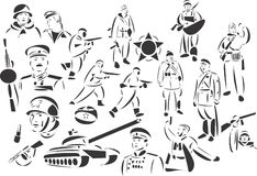 Red Army. 20 themed EPS images related to Red Army. The number of vector nodes is absolute minimum. The images are very easy to use and edit and are extremely Royalty Free Stock Photos
