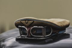 Red army air force peaked cap with goggles stock photography