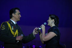 The Red Army Choir. Natacha Eliseeva ( R ) and The Red Army Choir Orchestra and Ballet MVD Ensemble from Russia, conducted by General Viktor Eliseev ( not Stock Image