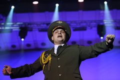 The Red Army Choir. Orchestra and Ballet MVD Ensemble from Russia, conducted by General Viktor Eliseev ( not present in this image ), performs at Palace Hall Stock Photos