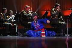 The Red Army Choir. Orchestra and Ballet MVD Ensemble from Russia, conducted by General Viktor Eliseev ( not present in this image ), performs at Palace Hall Royalty Free Stock Image