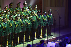 The Red Army Choir. Orchestra and Ballet MVD Ensemble from Russia, conducted by General Viktor Eliseev ( not present in this picture ), performs at Palace Hall Royalty Free Stock Image