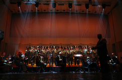 The Red Army Choir. Orchestra and Ballet MVD Ensemble from Russia, conducted by General Viktor Eliseev ( R ), performs at Palace Hall, in Bucharest, Romania Royalty Free Stock Photos