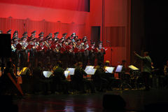 The Red Army Choir. Orchestra and Ballet MVD Ensemble from Russia, conducted by General Viktor Eliseev ( R ), performs at Palace Hall, in Bucharest, Romania Stock Photos
