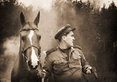 Red Army sergeant and a horse Royalty Free Stock Images