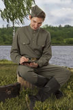 Red Army soldier writing a letter Stock Images