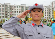 Red Army solider in uniform Royalty Free Stock Photo