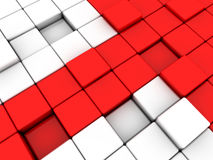 Red arrow. Surface consisting of 3d red and white squares Stock Images