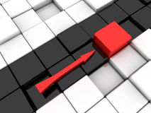 Red arrow. Surface consisting of 3d black and white squares Stock Photos