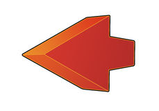 Red arrow. Art by red arrow in perspective with three-dimensional effect Royalty Free Stock Photography