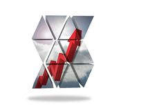 Red arrow on abstract screen Stock Photography