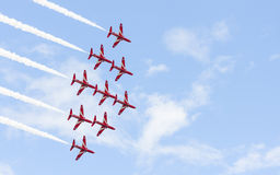 Red Arrow aerobatic flight show in Tallinn, Estonia Royalty Free Stock Photo