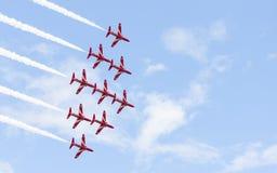 Red Arrow aerobatic flight show in Tallinn, Estonia royalty free stock photo