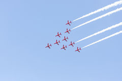 Red Arrow aerobatic flight show in Tallinn, Estonia Royalty Free Stock Photos