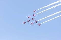 Red Arrow aerobatic flight show in Tallinn, Estonia royalty free stock photos
