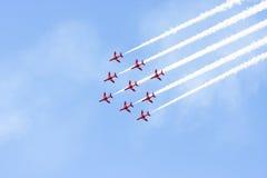 RAF Red Arrow aerobatic flight show in Tallinn, Es royalty free stock photo