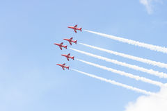Red Arrow aerobatic flight show in Tallinn, Estonia stock images