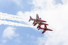 RAF Red Arrow aerobatic flight show in Tallinn, Es Royalty Free Stock Photos