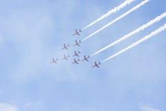 RAF Red Arrow aerobatic flight show in Tallinn, Es stock images