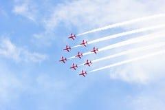 RAF Red Arrow aerobatic flight show in Tallinn, Es stock photography