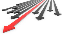 Red arrow ahead of black arrows. Concept success Stock Photo
