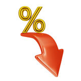 Red Arrow And Percent Royalty Free Stock Images