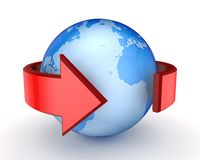Red arrow around Earth. Royalty Free Stock Image