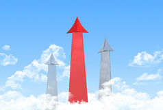 Red arrow aspire to sky vector illustration