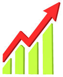 Red arrow and bar chart moves up Stock Photography