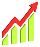 Red arrow and bar chart moves up Stock Photos