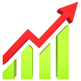 Red arrow and bar chart moves up Royalty Free Stock Image