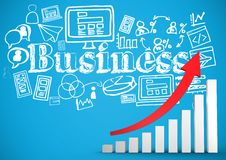 Red arrow and bar chart with white business doodles against blue background Royalty Free Stock Image