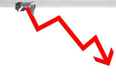 Red arrow through base line. Imagine stocks downturn Royalty Free Stock Images