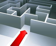 Red arrow begins to enter inside a maze Royalty Free Stock Image