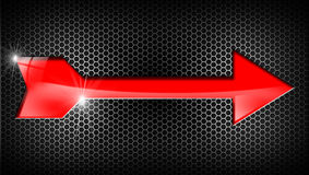Red Arrow on Black Background Stock Photo