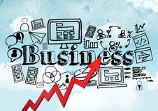 Red arrow with black business doodles against sky Stock Photo