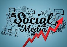 Red arrow with black social media doodles against blue background Stock Images