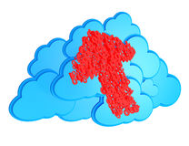 Red arrow and blue clouds Royalty Free Stock Photo