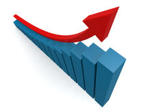 Red arrow and blue graph view from top. 3D rendering Royalty Free Stock Images
