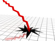 Red arrow breaking floor. Concept of bankruptcy, financial collapse, depression, failure, money crisis. Computer generated image Stock Image