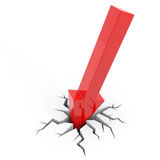 Red arrow breaking floor. Concept of  bankruptcy Royalty Free Stock Images