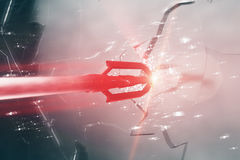 Red arrow breaking glass Stock Photography